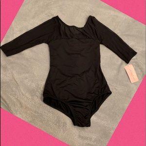 Black Leotard Dance Wear Sheer Top SIze: L